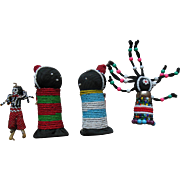 4 Old Vintage Zuni American Indian Beaded Dolls with Papoose Lot
