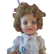 "Rosy Cheek Vintage 1960s Ideal Shirley Temple 15"" Doll in Original Dress"
