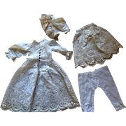 Antique French German Lace Doll Dress Bonnet Slip Pantaloons with Ornate Whitework