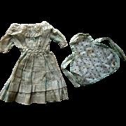 Antique French German China Bisque Cloth Papier Mache Doll Dress w Lace Collar & Calico Apron