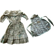 Antique French German China Bisque Cloth Papier Mache Doll Dress w Lace Collar & Calico Apron