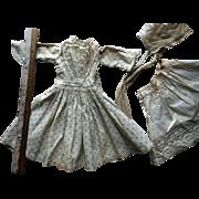Antique China Papier Mache Bisque Calico Doll Dress Fancy Lace Slip & Bonnet