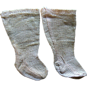 Antique French Jumeau Pink Doll Socks Stocking