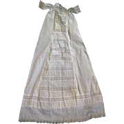 "Fancy Antique Victorian Child Baby Doll Lace Christening Gown Dress > 40"" Long"