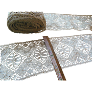Antique Intricate Lace Crochet Trim Edging Bolt Yardage > 25 Feet