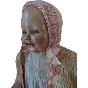 Antique Chuckles Composition Baby Century Doll Company with Dimples & charming outfit