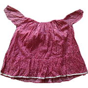 Antique Papier Mache Cloth China Bisque Doll Pink Calico Dress