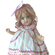 """Vintage Vogue 14"""" Composition Doll in Tagged Dress"""