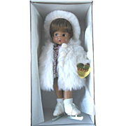 "MIB Effanbee '97 Repro V545 Winter White Christmas Patsy 12"" All Vinyl Doll Fur Coat & Ice Skates Mint in Box"