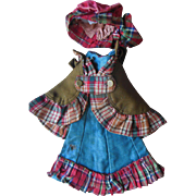 Antique French Fashion Doll Dress Cape Hat Outfit