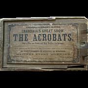 1867 Crandall's  Wooden Circus Acrobats Wood Building Block Toy Box