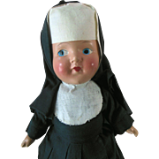 Composition Nun Religious Doll 1930s Excellent Condition