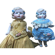 Antique German P 15 All Bisque German Doll Sister Dollhouse Twin Pair Crepe Paper & Knit Outfits
