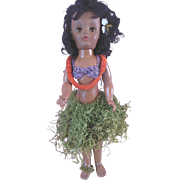 "Vintage 18"" Black Hawaiian Hard Plastic Doll wearing Lei & Grass Skirt P-16"
