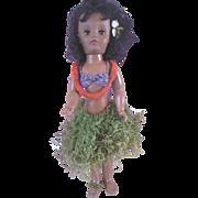 "Vintage 18"" Black Hawaiian Hard Plastic Doll wearing Lei & Grass Skirt P-16"