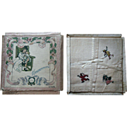 3 Antique Clara Miller Burd Childrens Book Illustrator Child Handkerchief in Box