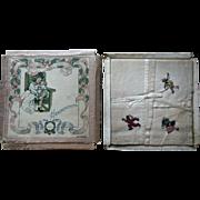 3 Antique Clara Miller Burd Childrens Book Illustrator Child Handkerchief in Box