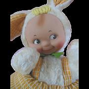 Vintage Kewpie Easter Bunny Plush Rabbit Doll Knickerbocker Co.