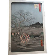 Hiroshige Fox Fires New Years Eve Japanese Woodblock Print 20th Century Hand Printed