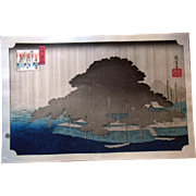 Hiroshige Cushion Pines Japanese Woodblock Print 20th Century Hand Printed