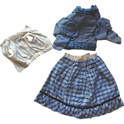 Antique French German Fashion Doll Cobalt Blue Dress Blouse Skirt Outfit