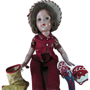 "18"" Effanbee Composition Cowgirl Doll 1930s"