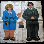 1981 Dean's Rag Princess Diana & Charles Royal Wedding Cloth Doll Cut Out uncut