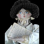 """Vintage 1979 Sheri Fowler Sanders Sumner Maine 28"""" Oil Cloth Painted Doll OOAK"""