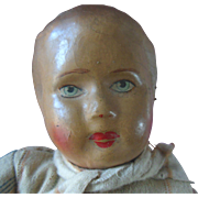 Old Oil Cloth Painted Boy Doll