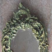 Antique Cherub Cast Iron Vanity Hand Mirror Footed