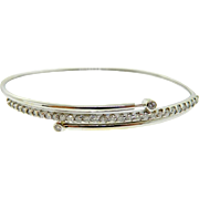 Estate 14 Karat White Gold Diamond Bangle Bracelet Pulls Open
