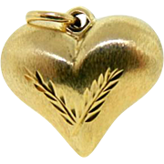 Estate 14 Karat Yellow Gold Puffy Heart Pendant Charm Reversible