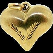 Estate 14 Karat Yellow Gold Puffy Heart Pendant Charm Reversible