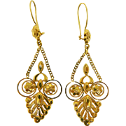 Estate 22 Karat Yellow Gold Dangle Earrings Pierced Ears Only