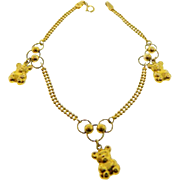 Estate 18 Karat Yellow Gold Teddy Bear Charm Bracelet