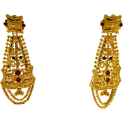 Ornate 22.5 Karat Yellow Gold Red Green Enamel Dangle Earrings Screw Back Pierced Estate