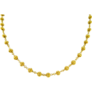 Estate 24 Karat Pure Gold Corrugated Bead Necklace