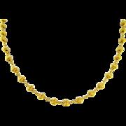 Estate 24 Karat Pure Gold Corrugated Bead Necklace