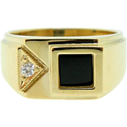 Estate Yellow Gold Onyx Diamond Men's Dress Ring