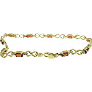 Estate Two Tone Gold Spessartite Garnet Link Bracelet