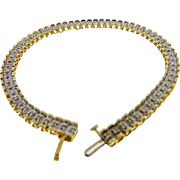 Vintage 14 Karat Two Tone Gold Diamond Line Bracelet