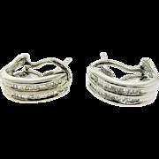 Estate 14 Karat White Gold Baguette Diamond Omega Back Earrings