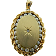 Vintage 14 Karat Yellow Gold Seed Pearl Diamond Locket Pendant