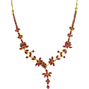 Estate 22 Karat Yellow Gold Ruby Flower Necklace