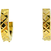 Estate 18 Karat Yellow Gold Small Huggie Earrings Pierced