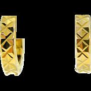 Estate 18 Karat Yellow Gold Small Huggie Earrings Pierced