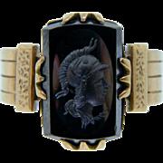 Antique 1917 Yellow Gold Hematite Intaglio Ring