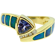 Estate Yellow Gold Tanzanite Diamond Opal Inlay Ring