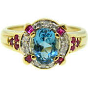 Estate Two Tone Gold Swiss Blue Topaz Ruby Diamond Cocktail Birthstone Ring