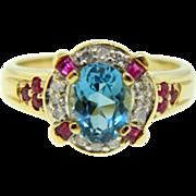 Estate Two Tone Gold Swiss Blue Topaz Ruby Diamond Cocktail Birthstone Ring